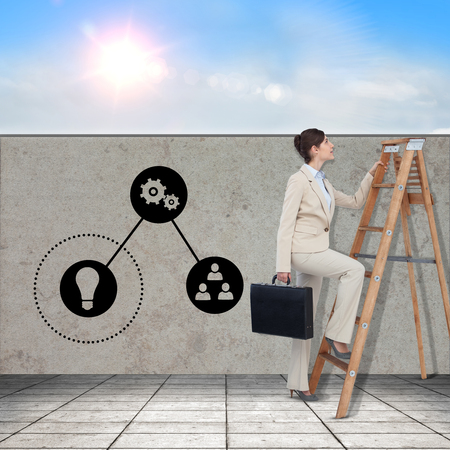 corporate women: Businessman looking on a ladder against blue sky with white clouds Stock Photo