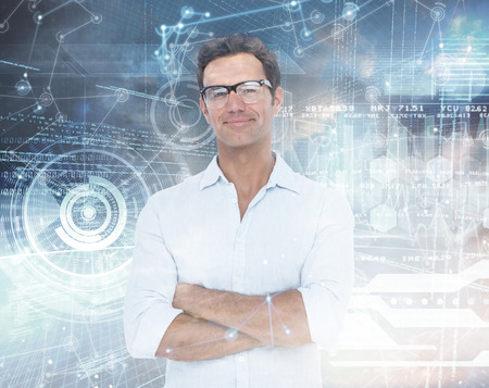 confident man: Confident man standing with arms crossed against hologram background