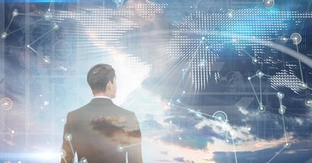 well dressed: Asian businessman against hologram background