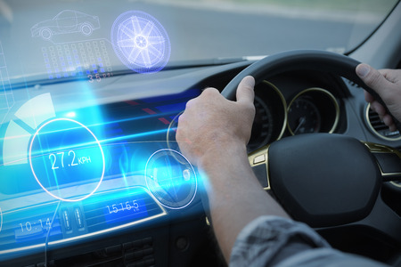 windshield wiper: Technology car interface against man using satellite navigation system