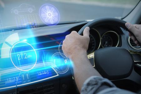 hubcap: Technology car interface against man using satellite navigation system