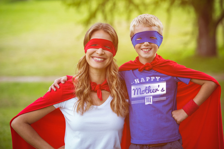 one parent: mothers day greeting against happy family wearing a disguise