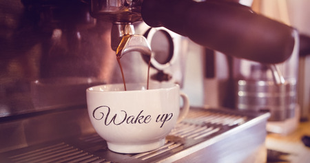 wake: wake up against machine making a cup of coffee