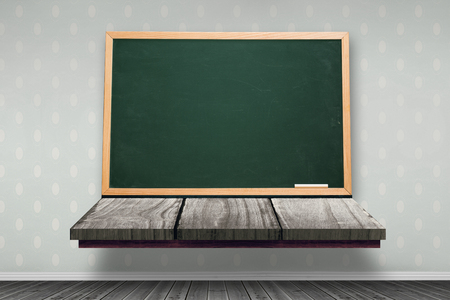 board room: Image of a wooden board against room with wooden floor Stock Photo