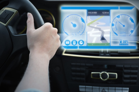 windshield wiper: Image of a map against woman driving Stock Photo