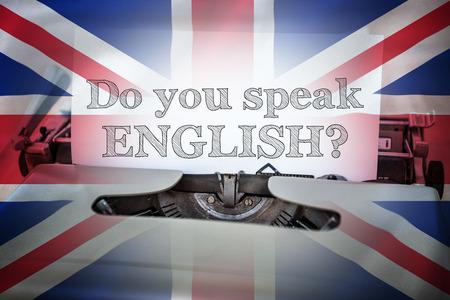 speak english: do you speak english against digitally generated uk national flag