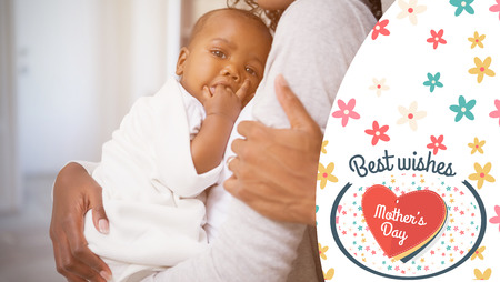 black baby boy: mothers day greeting against focus on baby