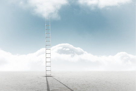 cloudy: Ladder against cloudy sky background