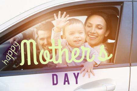 one parent: mothers day greeting against happy family posing together