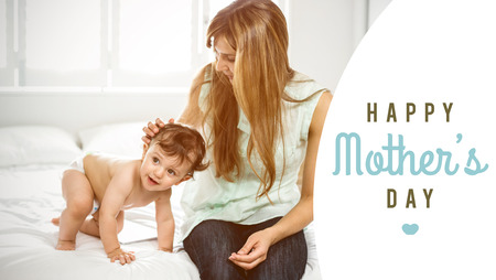thirties: mothers day greeting against happy family posing together