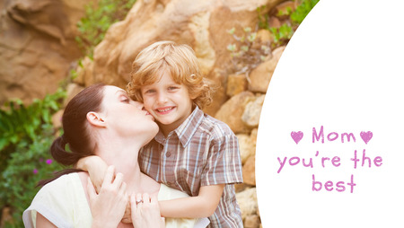 thirties: Mothers day greeting against happy couple posing together Stock Photo