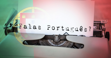 portugese: A sentence  against digitally generated portugese national flag
