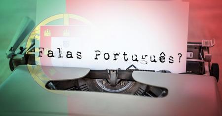 frase: Una sentencia contra la bandera nacional portugués generada digitalmente Foto de archivo