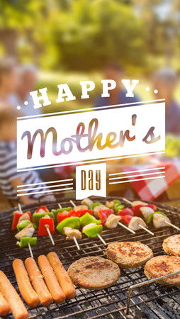 family eating: mothers day greeting against happy family eating barbecue