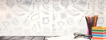 school desk: School supplies on desk against school doodles