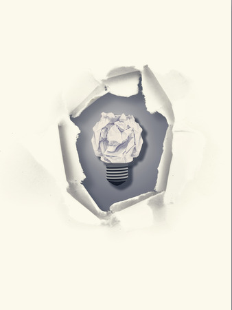 which one: Five bulbs which one is in the process of function against a cloth which is offending