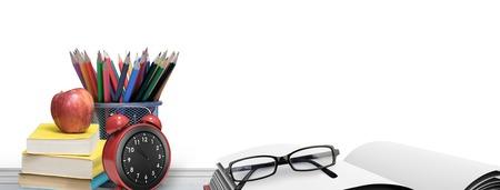 school desk: School supplies on desk