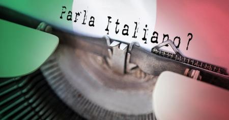digitally  generated: parla italiano against digitally generated italian national flag
