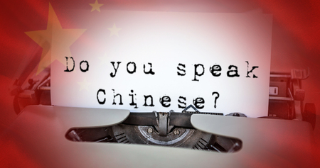 foreign country: Sentence against close-up of chinese flag