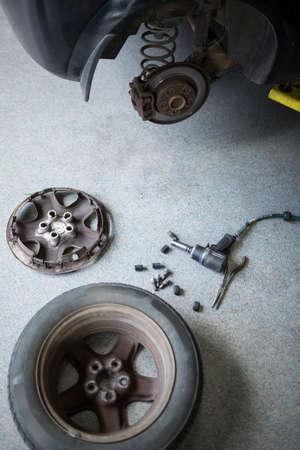 garage: Car at repair garage