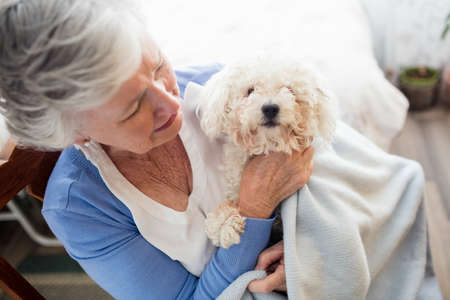sheltered accommodation: Senior woman holding a dog in a retirement home