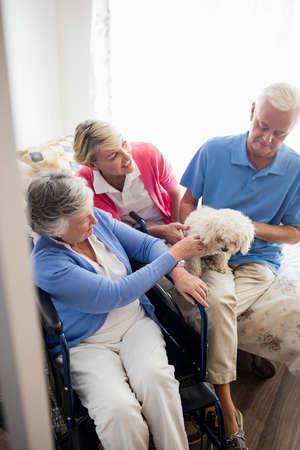 paraplegic: Los pares y la enfermera cuidar de un perro en una casa de retiro