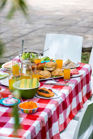 unwholesome: High angle view of healthy food on table at outdoors LANG_EVOIMAGES