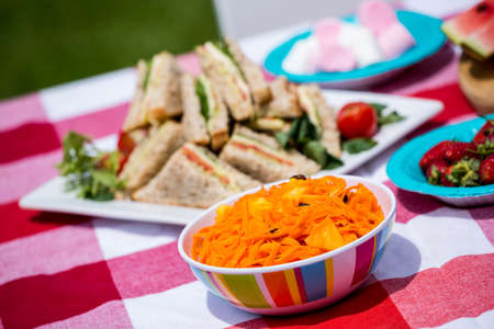 unwholesome: High angle view of food on table at outdoors