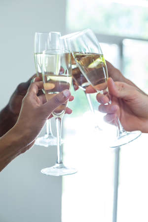 toasting wine: Hands toasting wine glasses at home
