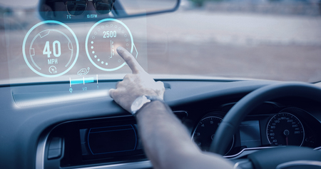 mid adult men: Image of a dashboard against man using satellite navigation system Stock Photo