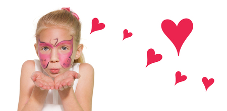 flying kiss: Red Hearts against a child blowing a kiss air Stock Photo