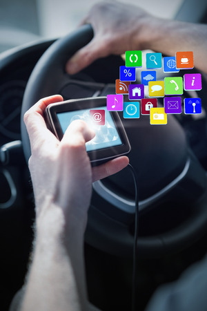 writing on screen: Cloud with apps against man using satellite navigation system