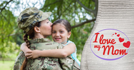 acclamation: Mother in army uniform kissing daughter against mothers day greeting Stock Photo