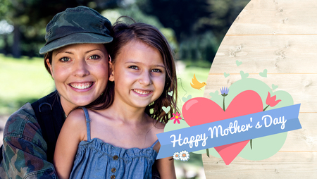 mid adult men: mothers day greeting against a soldier woman posing with her daughter Stock Photo
