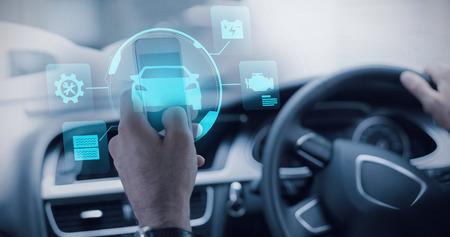 mid adult men: Car  against businessman using a smartphone