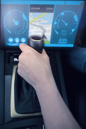 gearshift: Image of a map against woman using gearshift