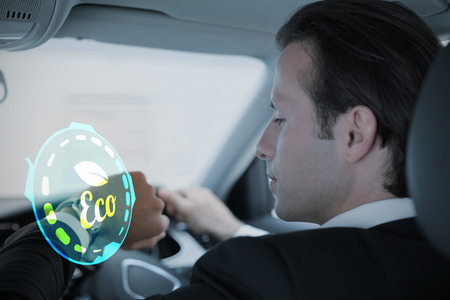 drivers seat: Ecology logo against businessman in the drivers seat