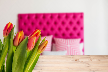 copy space: Tulip against pillow in a bed