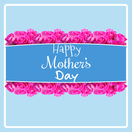 peering: Happy mothers day against blue background