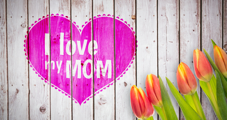 friendliness: Mothers day greeting against wooden planks Stock Photo