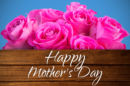 floorboard: Mothers day greeting against overhead of wooden planks Stock Photo