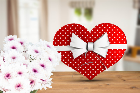 domicile: Heart shaped box of candy against sitting room