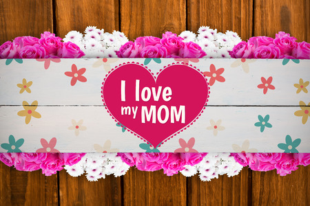 floorboard: mothers day greeting against painted blue wooden planks Stock Photo