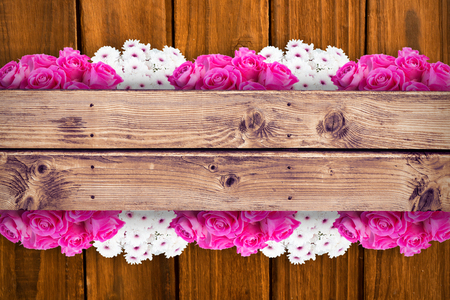 floorboard: Pink flowers against wooden planks background