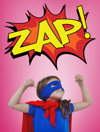pretending: Masked girl pretending to be superhero against pink vignette Stock Photo