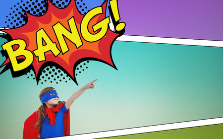 pretending: Masked girl pretending to be superhero against the word bang Stock Photo