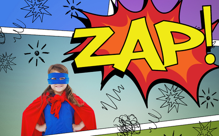 zap: Masked girl pretending to be superhero against the word zap