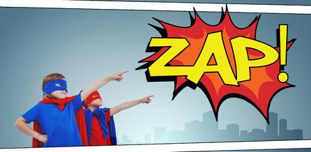 superheroes: Masked kids pretending to be superheroes against the word zap