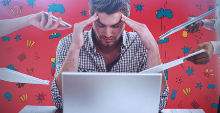 swearing: Businessman stressed out at work against swearing doodles