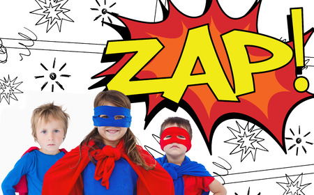 zap: Children dressed as superman against the word zap